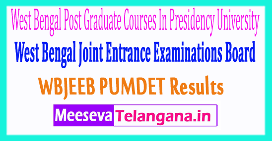 West Bengal Post Graduate Courses In Presidency University PUMDET Result 2017