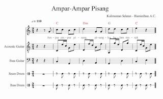 gambar notasi penggalan lagu ampar ampar pisang