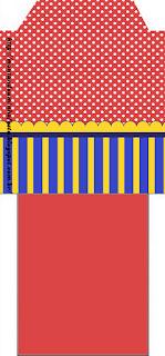 Bolsita de Té para imprimir gratis de Azul, Rojo y Amarillo.