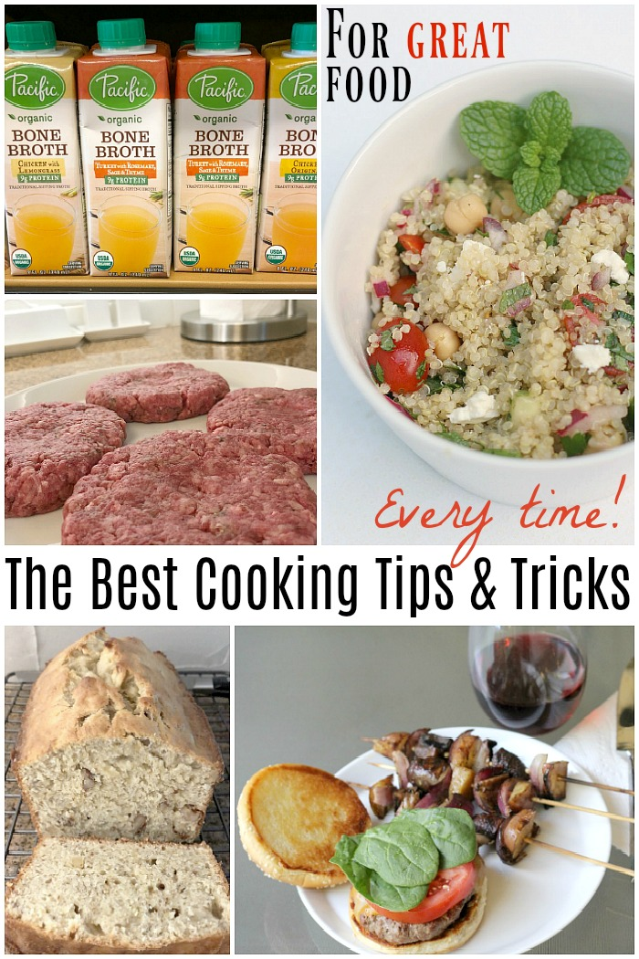 Cooking tips and tricks on how to prepare tricky meal items like juicy burgers, homemade bone broth and perfect every time