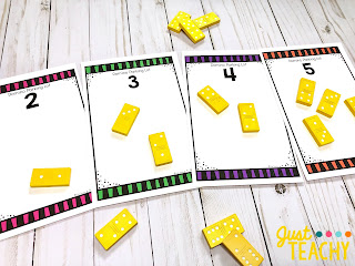Domino Parking Lots Math Center to teach addition