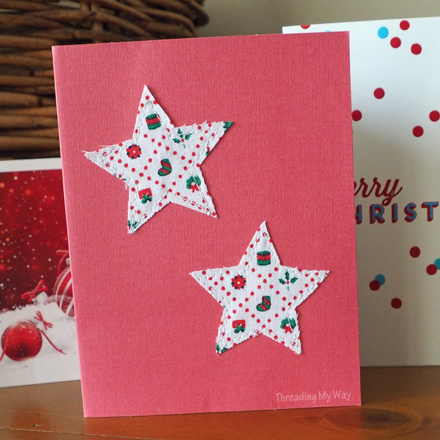 Make your own star appliquéd Christmas cards from scraps of fabric ~ Threading My Way