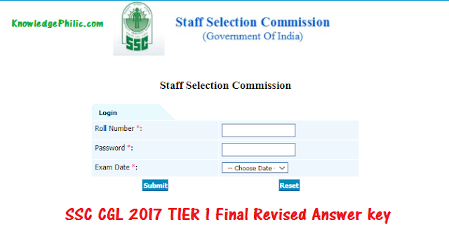 SSC CGL 2017 TIER 1 Final Revised Answer key