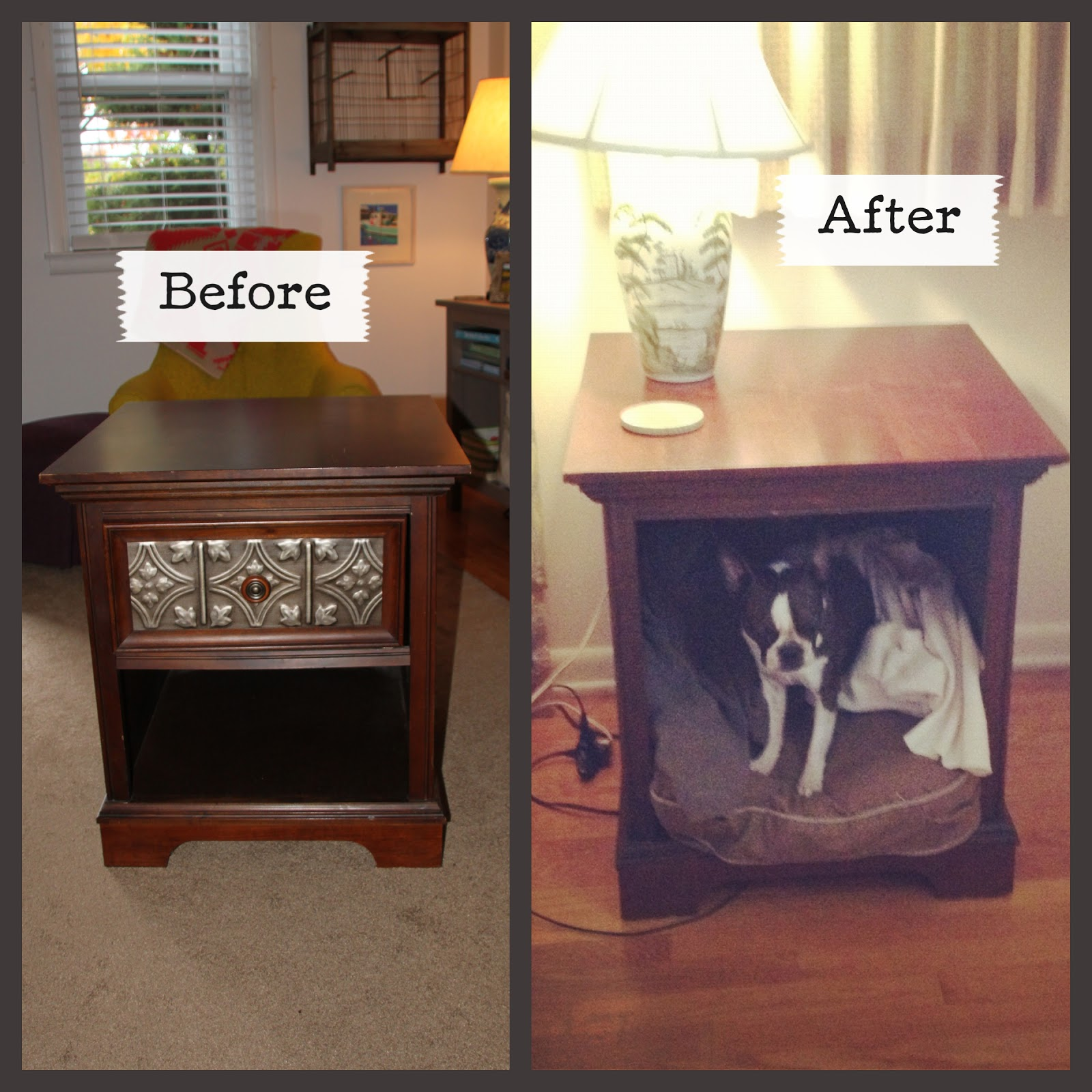 Tiptoethrough: DIY: Side Table as Dog Bed