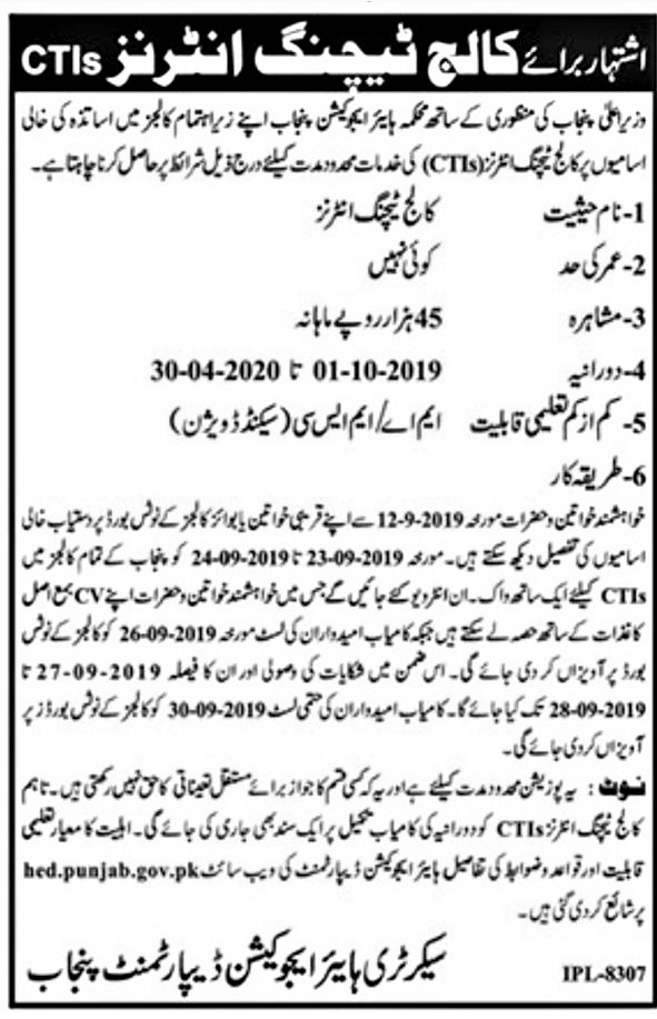 ADVERTISEMENT FOR THE POSTS OF COLLEGE TEACHING INTERNEES (CTIs) AND SUBJECT WISE POSTS OF GIRLS COLLEGE HAFIZABAD