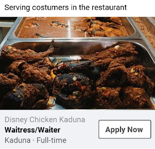 Waiter And Waitress Job At Disney Chicken Kadunae