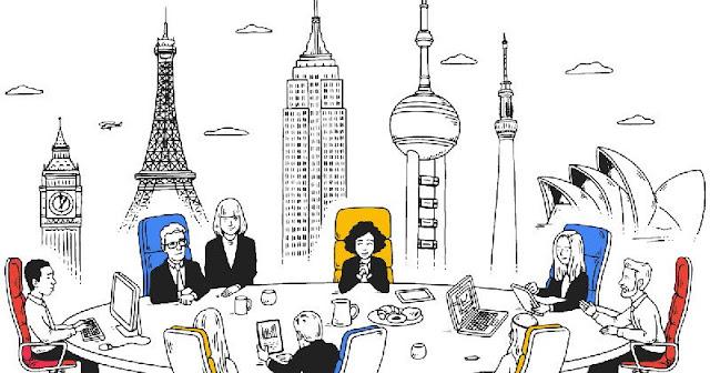 企業透過雲端工具辦公,圖片中呈現的是不管在任何國家都可以像在同一個會議室裡面辦公。