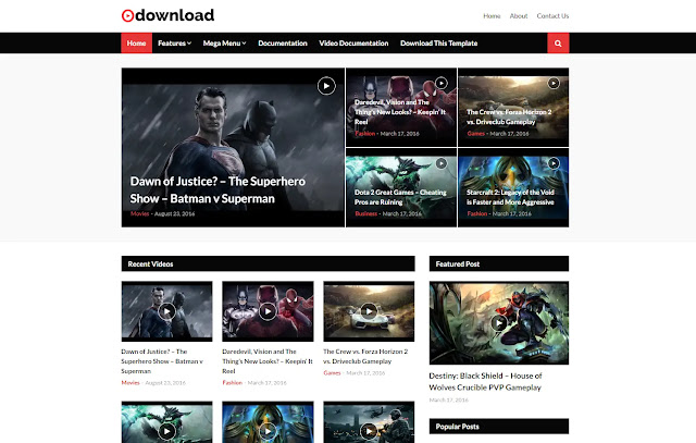 Video Download Responsive Download Blog Movie Blogger Template Theme