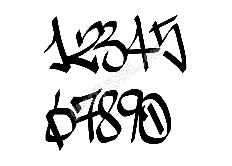 Graffiti Zahlen, Graffiti Schrift, Graffiti Numbers 0-9