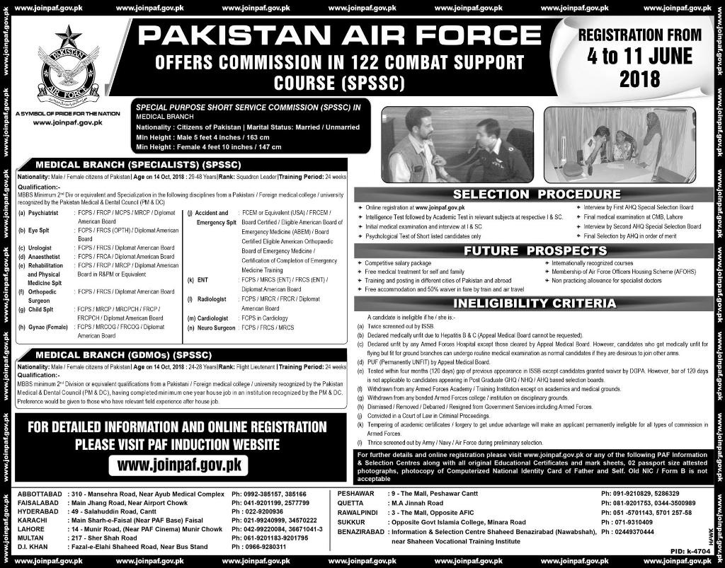 Latest Jobs in Pakistan Air Force PAF June 2018 Medical Branch | www.joinpaf.gov.pk
