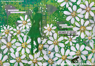 finished artwork of Jenny's garden of daisies art journal page step-by-step tutorial