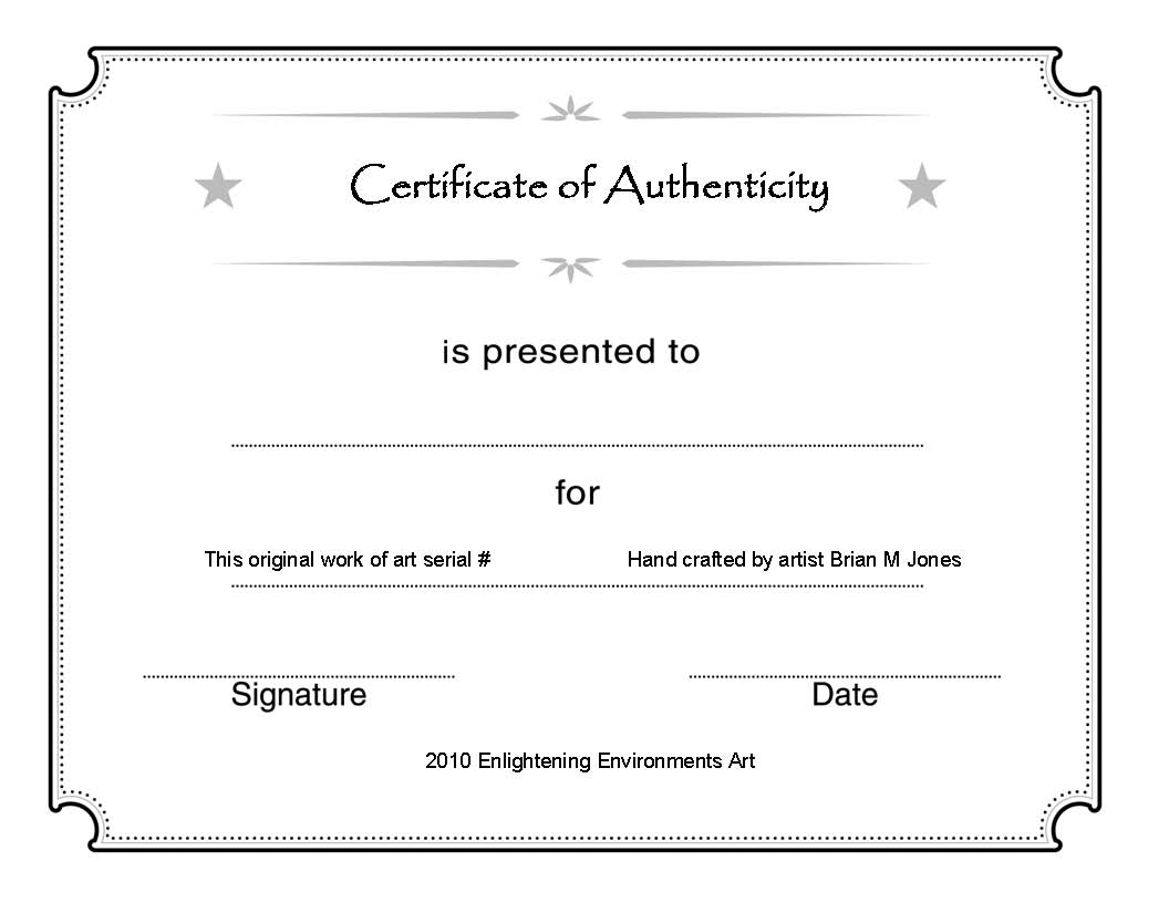 Certificate Of Authenticity Template Microsoft Word Free Download