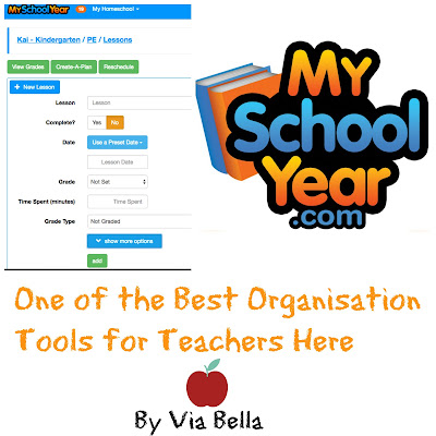 One of the Best Organisation Tools for Teachers Here, #hsreviews #recordkeeping #homeschoolorganization  SEO Keywords:  Homeschool Record keeping Tracking Reporting Planning Organization Transcripts Report Cards High school Lesson plans Via Bella tos Crew review MySchoolYear.com