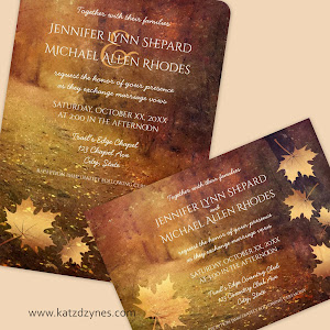 Autumn Trail Rustic Fall Wedding Invitations and collection from katzdzynes