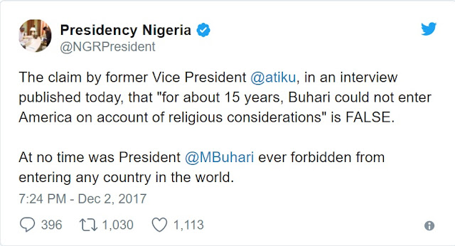 Buhari Never Banned from USA, Atiku Lied - Presidency Fires Back at Former VP