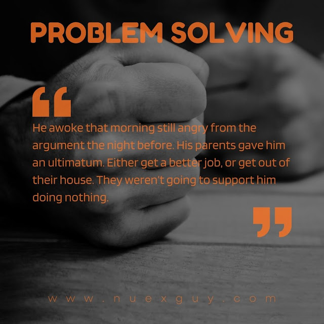 A quote from the PROBLEM SOLVING short fiction laid over black and white imagery of angry fists.
