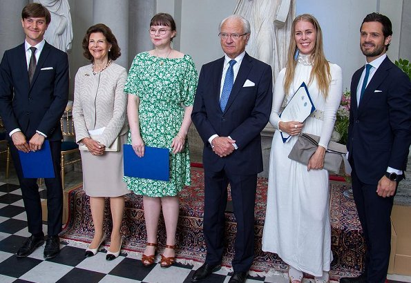 King Carl Gustaf, Queen Silvia and Prince Carl Philip at a award ceremony. Princess Madeleine, Princess Leonore, Princess Sofia, Estelle,Victoria