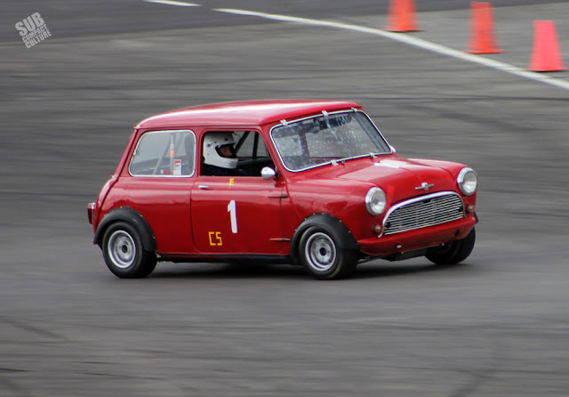 Red Mini Cooper race car at 2015 Portland Vintage Racing Festival