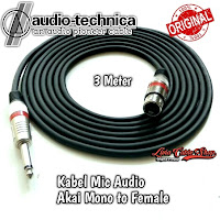 Kabel Mic XLR Audio Female To Jack Akai Mono Canon Canare 3 Meter