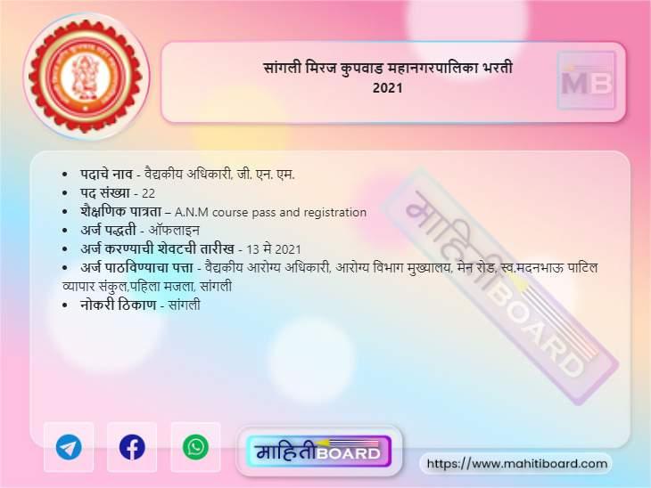 Sangli Miraj Kupwad Mahanagarpalika Bharti 2021