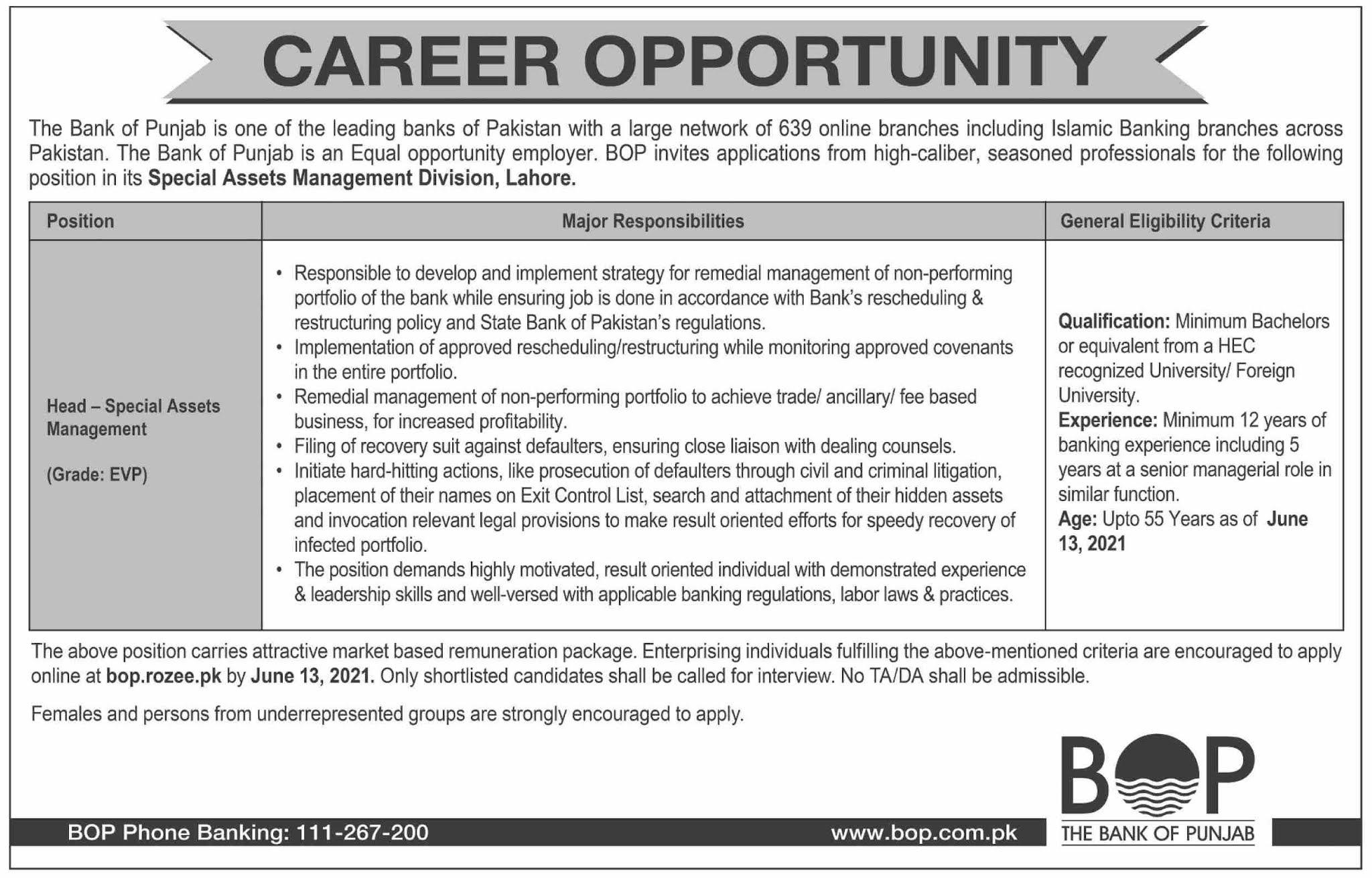 bop.rozee.pk - Bank of Punjab (BOP) Jobs 2021 in Pakistan