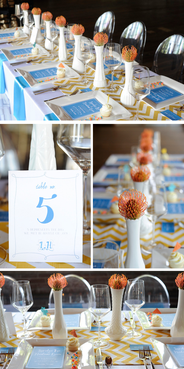 colorful and modern wedding or shower ideas | Styling by http://nikkiseventplanning.com/  Images by http://www.andsomethingpretty.com/ Paper Goods by http://www.honeybeeinvites.com/