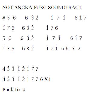 Not Angka Pianika Lagu PUBG Soundtrack