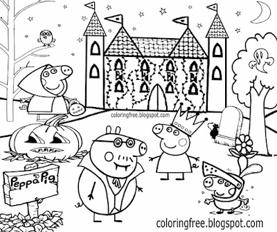 Old Castle Dracula Daddy Pig Simple Fun Drawing Peppa Pig Halloween  Coloring Pages For Playgroups