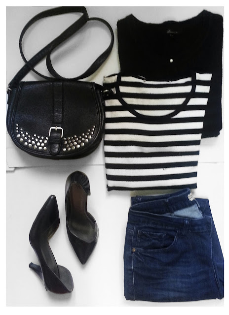 A daily outfit for a girls night out or a morning date or even dressing up for college in winter with stripes top, black cardigan and a black pointed shoes