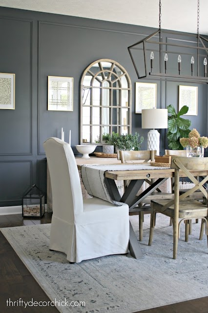 Cyberspace dark blue walls with molding