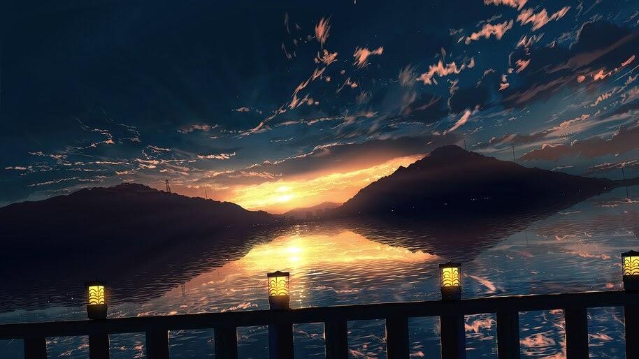 Horizon, Anime, Scenery, Sunset, Sky, Clouds, 4K, #6.2602