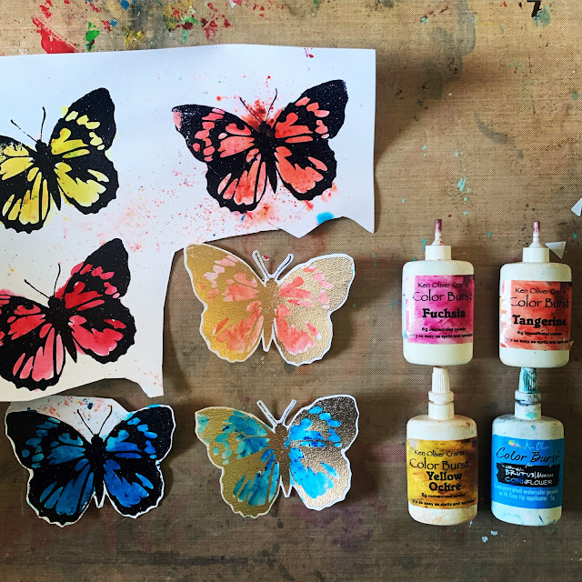 Vintage Hero Arts Butterfly painted with Ken Oliver Color Burst Powders