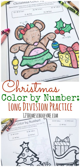 FREE Christmas Color by Number : Division - fun math practice for 3rd grade, 4th grade, and 5th grade work on division. These printable division activities can be used as a math worksheets, math center, and more. Such a simple, teaching activity for December.