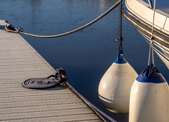 Photo offFrost on the pontoon and Ravensdale's mooring ropes yesterday (Thursday) morning