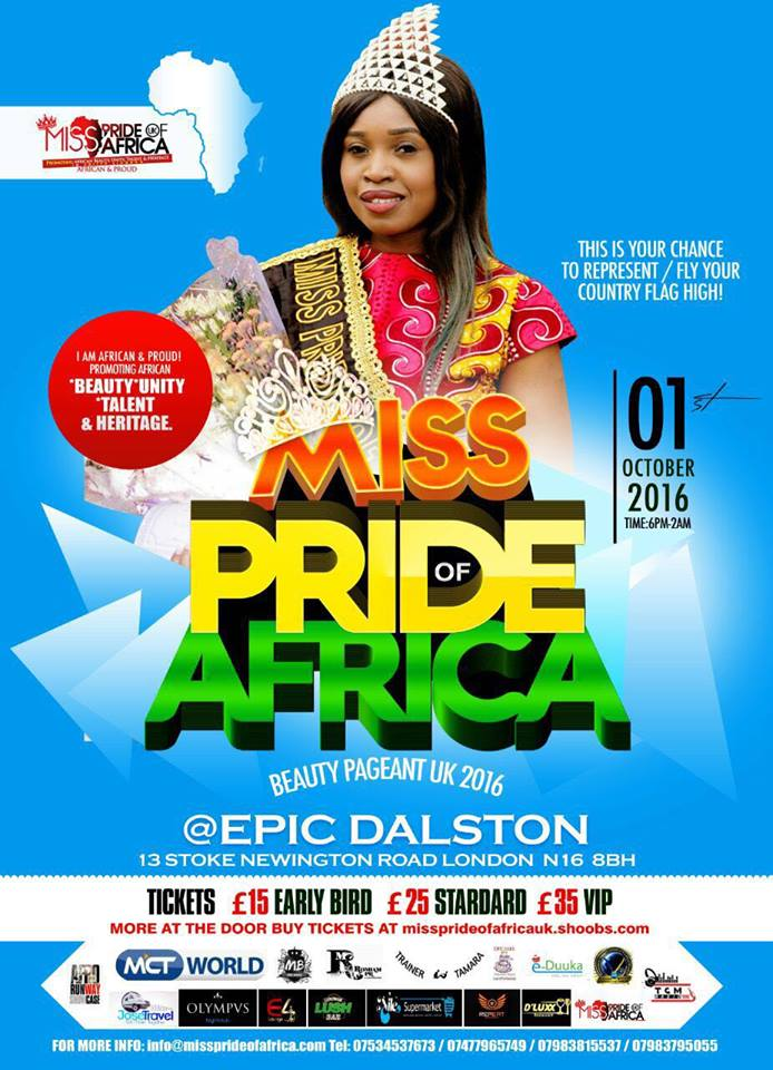 Miss Pride Of Africa UK 2016