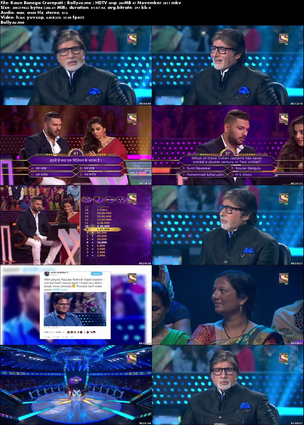 Kaun Banega Crorepati HDTV 480p 250MB 07 November 2017 Download