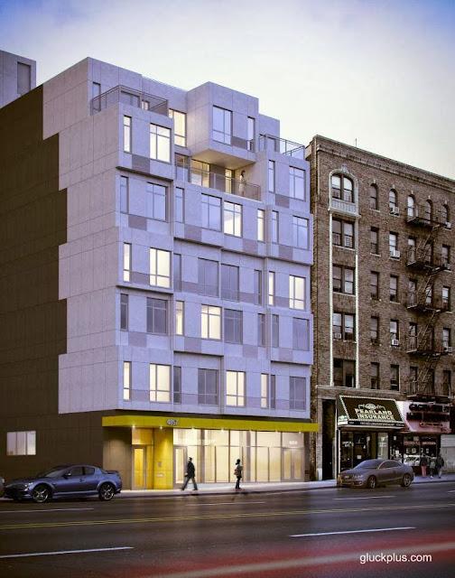 Imagen del renderizado del proyecto de edificio residencial modular en Nueva York