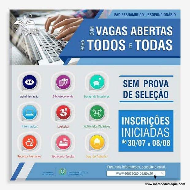 Mais de 73 mil vagas estão abertas para nove cursos gratuitos em Pernambuco