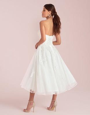 avril a glamorous short aline ivory color wedding dress back side