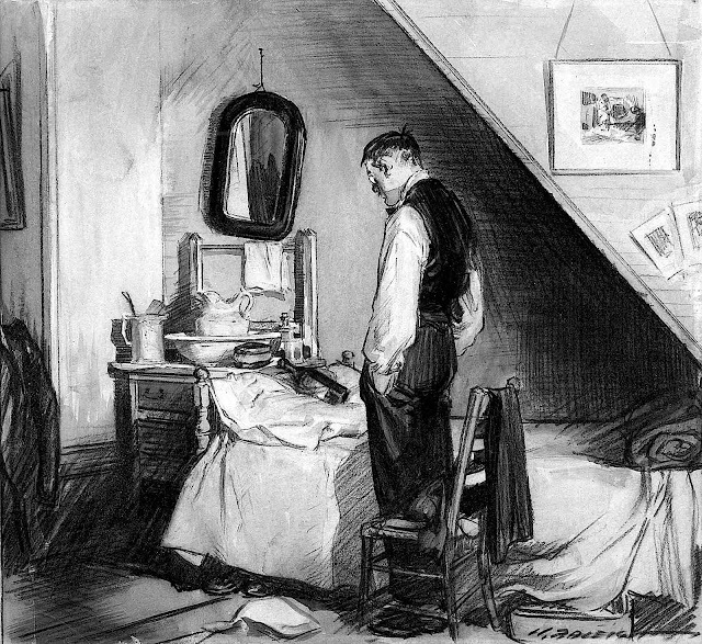 a Henry Patrick Raleigh illustration of a man thinking
