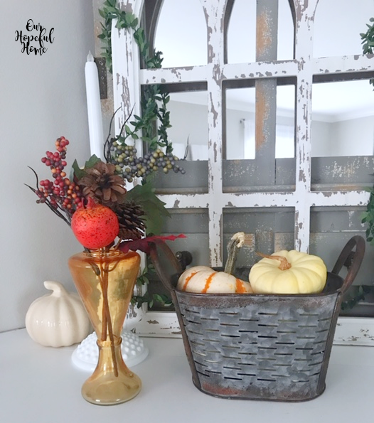 amber glass vase faux pomegranate pumpkins