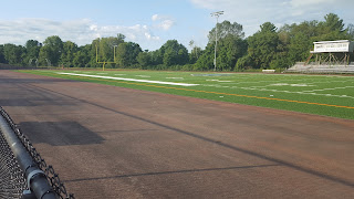 turf field in but track not yet laid out