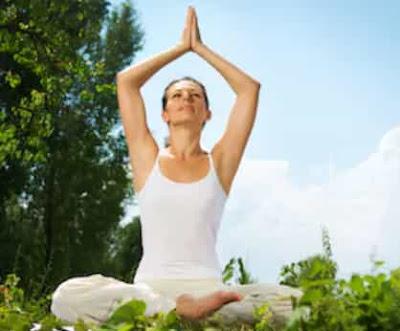 Woman in yoga posture