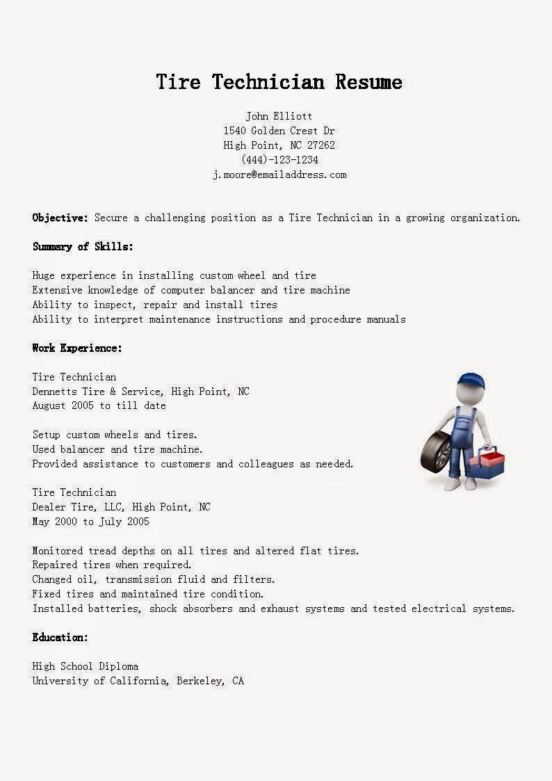 resume samples  tire technician resume sample
