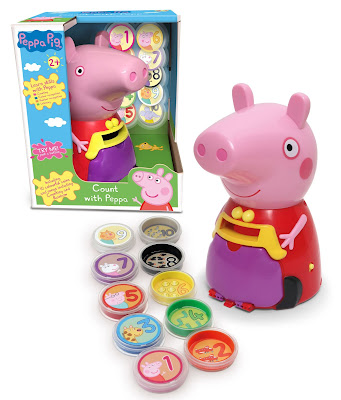 Commercial image of Count With Peppa showing it in it's packaging, the coins and Peppa Pig herself