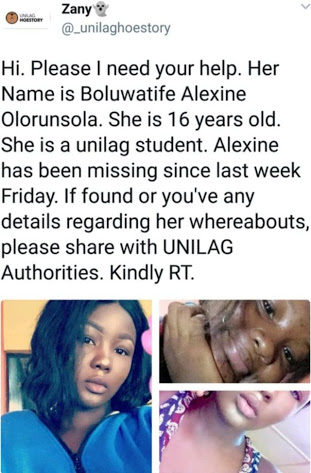 UNILAG Female Student Declared Missing