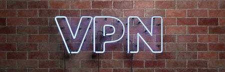 レンガ調の壁の上のVPNのネオンサイン