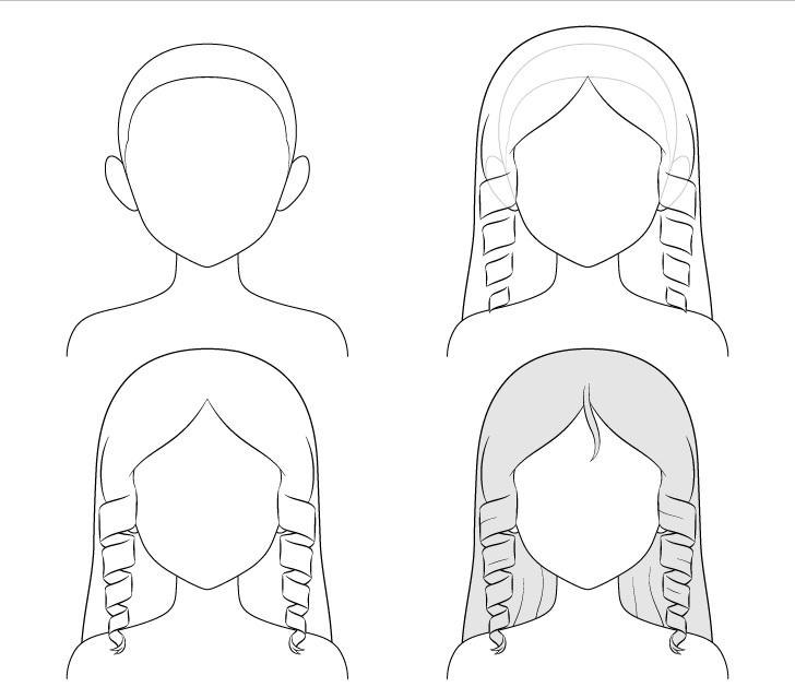 cara Menggambar Rambut Anime Curly