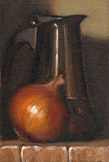 Oil painting of a brown onion beside a stainless steel coffee percolator.