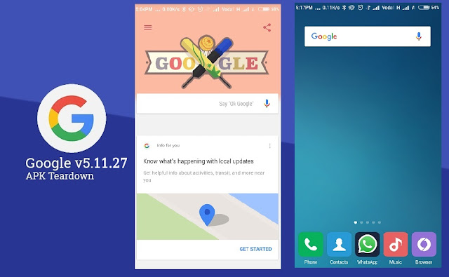 Google App Got v5.11.27 Update with New Animation & New Attached Search bar to App Drawer : Download APK